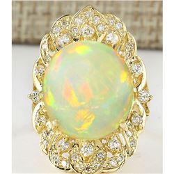 10.65 CTW Natural Opal And Diamond Ring In 18K Yellow Gold
