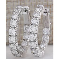 3.41CTW Natural Diamond Hoop Earrings 18K Solid White Gold