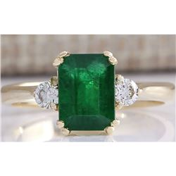 1.94 CTW Natural Emerald And Diamond Ring 14K Solid Yellow Gold