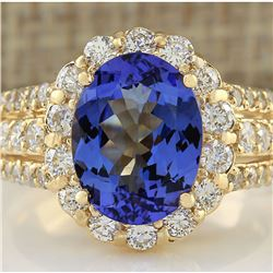 4.60 CTW Natural Tanzanite And Diamond Ring In 18K Yellow Gold