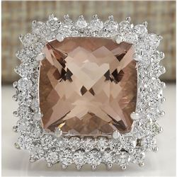 9.71 CTW Natural Peach Morganite And Diamond Ring In 18K Solid White Gold