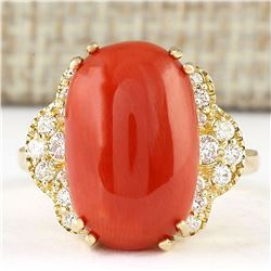 9.33 CTW Natural Coral And Diamond Ring In 18K Yellow Gold