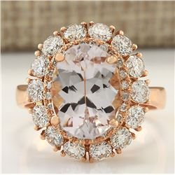 5.48 CTW Natural Morganite And Diamond Ring 18K Solid Rose Gold