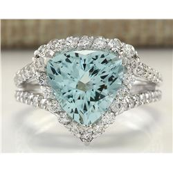 3.52 CTW Natural Aquamarine And Diamond Ring In 18K Solid White Gold