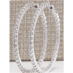 3.56 CTW Natural Diamond Hoop Earrings 14K Solid White Gold