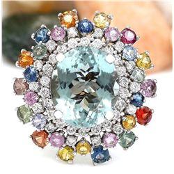 12.50 CTW Natural Aquamarine 18K Solid White Gold Diamond Ring