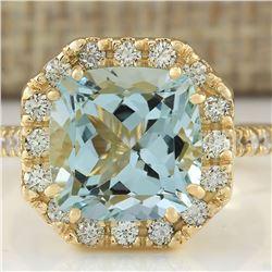 4.72 CTW Natural Aquamarine And Diamond Ring In 14k Yellow Gold