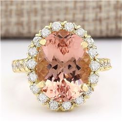 8.79 CTW Natural Morganite And Diamond Ring In 18K Solid Yellow Gold