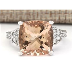 8.11 CTW Natural Morganite And Diamond Ring In 14k White Gold