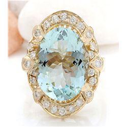5.8 CTW Natural Aquamarine 18K Solid Yellow Gold Diamond Ring