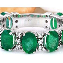 4.60 CTW Natural Emerald 18K Solid White Gold Diamond Ring