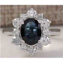 2.76 CTW Natural Blue Sapphire Diamond Ring 18K Solid White Gold