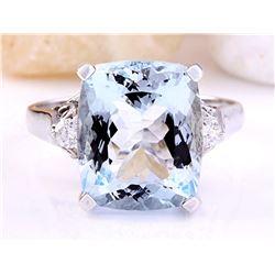 5.58 CTW Natural Aquamarine 18K Solid White Gold Diamond Ring