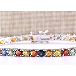 14.64 CTW Natural Multi-color Sapphire Bracelet In 18K Solid White Gold