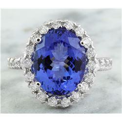 10.46 CTW Tanzanite 14K White Gold Diamond Ring