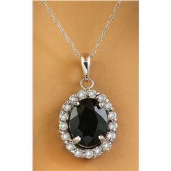 2.00 CTW Sapphire 18K White Gold Diamond Necklace