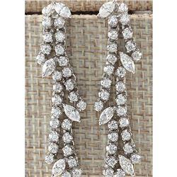 4.10CTW Natural Diamond Earrings 14K Solid White Gold