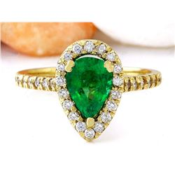 1.50 CTW Natural Emerald 18K Solid Yellow Gold Diamond Ring