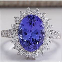 3.31 CTW Natural Blue Tanzanite And Diamond Ring In 14K White Gold