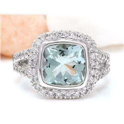 5.60 CTW Natural Aquamarine 14K Solid White Gold Diamond Ring