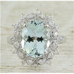 4.48 CTW Aquamarine 14K White Gold Diamond Ring