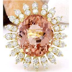 15.01 CTW Natural Morganite 18K Solid Yellow Gold Diamond Ring
