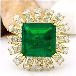 8.50 CTW Natural Emerald 18K Solid Yellow Gold Diamond Ring