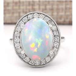 6.48 CTW Natural Opal And Diamond Ring In 18K White Gold