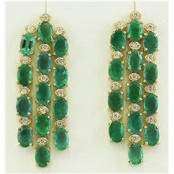 12.50 CTW Emerald 14K Yellow Gold Diamond Earrings