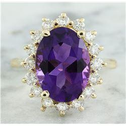 7.26 CTW Amethyst 14K Yellow Gold Diamond Ring