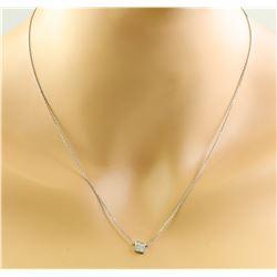 0.10 CTW 18K White Gold Diamond Necklace
