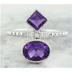 1.82 CTW Amethyst 18K White Gold Diamond Ring