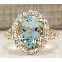 3.81 CTW Natural Aquamarine And Diamond Ring In 18K Yellow Gold