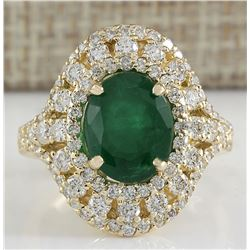 5.02 CTW Natural Emerald And Diamond Ring 18K Solid Yellow Gold