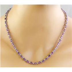 27.50 CTW Amethyst 18K White Gold Diamond Necklace