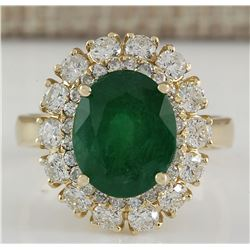 6.29 CTW Natural Emerald And Diamond Ring 14K Solid Yellow Gold
