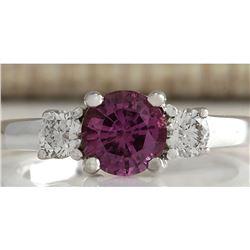 1.70 CTW Natural Pink Ceylon Sapphire Diamond Ring 14k Solid White Gold
