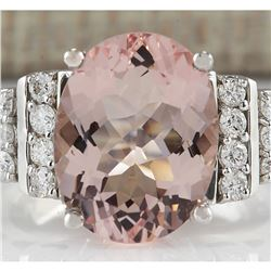 5.30 CTW Natural Morganite And Diamond Ring 18K Solid White Gold