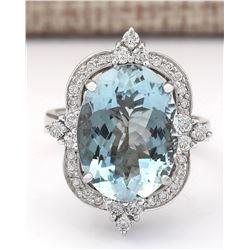 8.22 CTW Natural Aquamarine And Diamond Ring In 14k White Gold