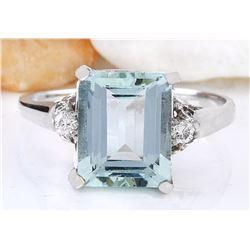 4.34 CTW Natural Aquamarine 18K Solid White Gold Diamond Ring