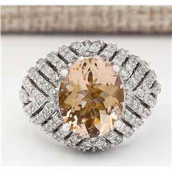 5.38 CTW Natural Morganite And Diamond Ring In 18K White Gold