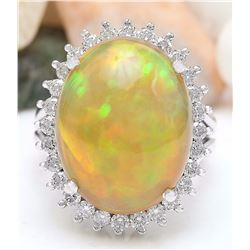 13.48 CTW Natural Opal 14K Solid White Gold Diamond Ring