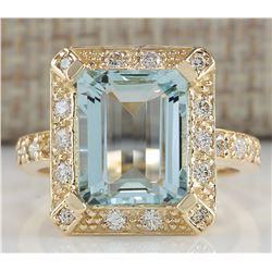 4.85 CTW Natural Aquamarine And Diamond Ring In 18K Yellow Gold