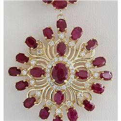 57.62 CTW Natural Ruby And Diamond Necklace In 14K Yellow Gold