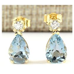 3.52 CTW Natural Aquamarine And Diamond Earrings 18K Solid Yellow Gold