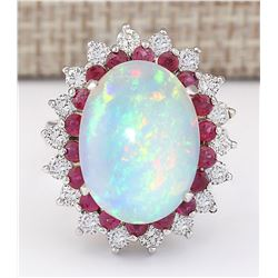 8.33 CTW Natural Opal, Ruby And Diamond Ring In14k White Gold