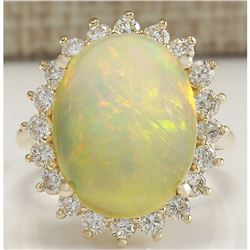 10.46 CTW Natural Opal And Diamond Ring In 14K Solid Yellow Gold