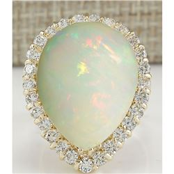 14.20 CTW Natural Opal And Diamond Ring In 18K Yellow Gold