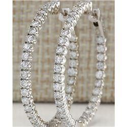 3.05 CTW Natural Diamond Hoop Earrings 14k Solid White Gold