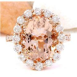 6.82 CTW Natural Morganite 18K Solid Rose Gold Diamond Ring